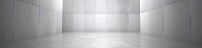 Empty Room With Marble Floor and Metallic Wall Panels stock images