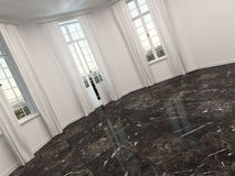 Empty room with marble floor and patio doors Stock Image