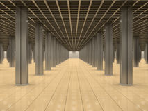 Empty room with metal columns and tiled floor Royalty Free Stock Image
