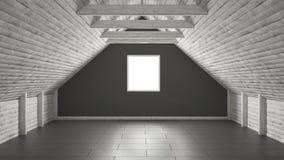 Empty room, mezzanine loft, roof architecture interior design Stock Photos