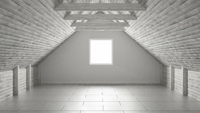 Empty room, mezzanine loft, roof architecture interior design Royalty Free Stock Photography