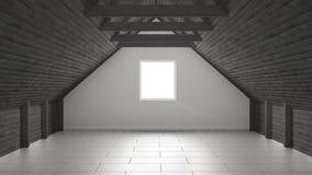 Empty room, mezzanine loft, roof architecture interior design Royalty Free Stock Photos