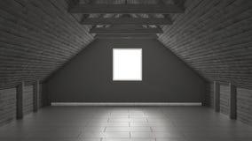 Empty room, mezzanine loft, roof architecture interior design Stock Photography