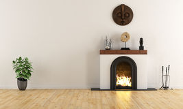 Empty room with minimalist fireplace. With ethnic decor objects - 3D Rendering Stock Photo