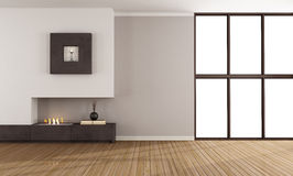 Empty room with modern fireplace. Empty room with minimalist fireplace and window Royalty Free Stock Photos