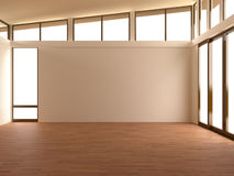 Empty room in modern room. 3d illustration of empty modern room with laminate floor, empty wall and windows Stock Images