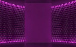 Empty room modern space interior decorate wall with triangle pattern 3d rendering image. There are violet room decorate with hidden light Royalty Free Stock Images
