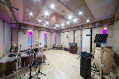 Empty room with music equipment Royalty Free Stock Photo