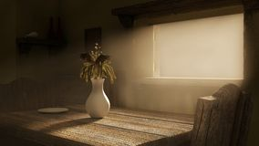 Empty room with mystic sunlight. Stock Image