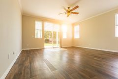 Empty Room of New House With Hard Wood Floors. Empty Room of New House With New Hard Wood Floors stock photography