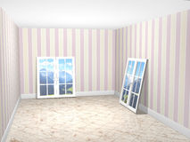 Empty room with new windows Royalty Free Stock Photos