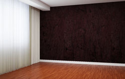 Empty room is newly renovated. In the interior there are blinds and baseboards and wallpaper with a pattern. Stock Photos