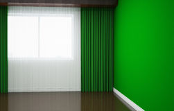 Empty room is newly renovated. In the room there are curtains and blinds, plinths, wallpaper and tile. 3d illustration Royalty Free Stock Photography