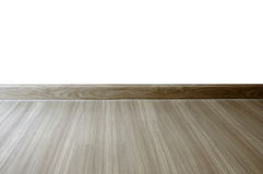 Empty room with oak wood laminate flooring and newly painted whi Stock Photo