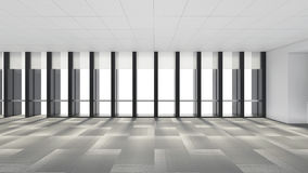 Empty room in office corporate with windows, 3d render interior stock illustration