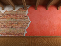 Grunge room with old cracked wall Stock Photo