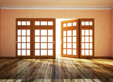 Empty room with open window Royalty Free Stock Photo