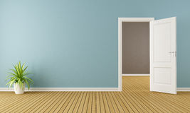 Empty room with opend door Stock Image