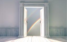 Empty room with opened door Royalty Free Stock Image