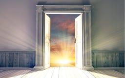 Empty room with opened door vector illustration