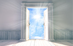 Empty room with opened door Royalty Free Stock Image