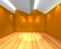 Empty room orange wall with Ceiling serration Royalty Free Stock Photos