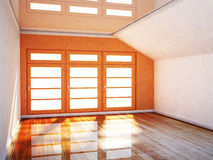 Empty room in orange and white colors Stock Image