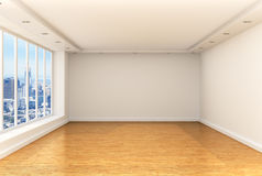 Empty room, panoramic windows. And parquet floor in a spacious room overlooking the city. 3d render stock image