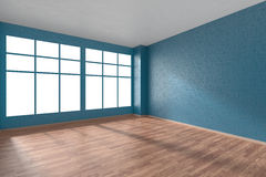 Empty room with parquet floor, blue textured walls and big windo Royalty Free Stock Images