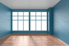 Empty room with parquet floor, blue textured walls and big windo Stock Photo