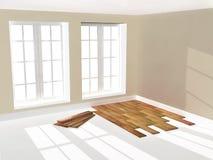 Empty room with parquet floor Royalty Free Stock Photos
