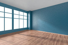 Empty room with parquet floor, textured blue walls and window Stock Photos
