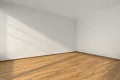 Empty room with parquet floor and textured white walls Stock Photography