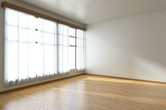Empty room with parquet floor and window diagonal view Stock Images