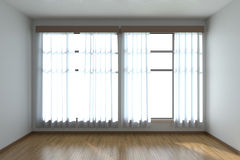 Empty room with parquet floor and window front view Stock Images