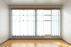 Empty room with parquet floor and window front view Royalty Free Stock Photo