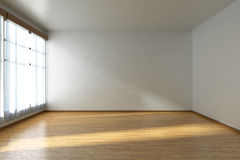 Empty room with parquet floor and window Stock Photography