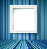 Empty room with photo frame on striped wallpaper Royalty Free Stock Photo