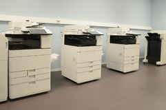 Empty room with photocopier machines.  Royalty Free Stock Images