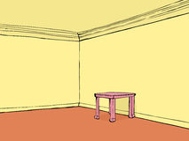 Empty room with pink table Royalty Free Stock Photo