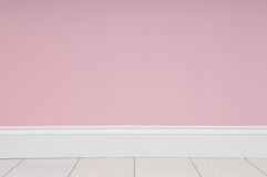 Empty room with pink wall. And white wooden floor royalty free stock photos