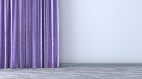Empty room with purple curtains Royalty Free Stock Photo