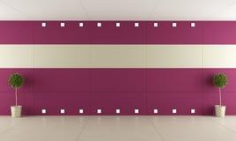 Empty room with purple paneling Stock Photo