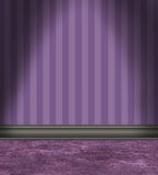 Empty Room With Purple Striped Wallpaper stock illustration
