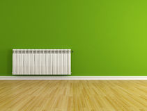 Empty room with radiator. Green empty room with hot water radiator - rendering Stock Photos