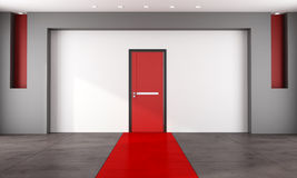 Empty room with red closed door Stock Photo