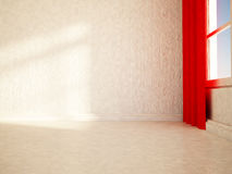 Empty room with the red curtain, 3d Royalty Free Stock Photos