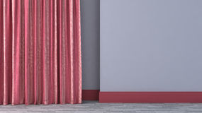 Empty room with red curtains Royalty Free Stock Photography