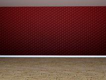 Empty room with red wall. Empty room in 3D with red wall stock illustration