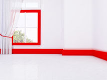 Empty room in red and white colors. Rendering Stock Images
